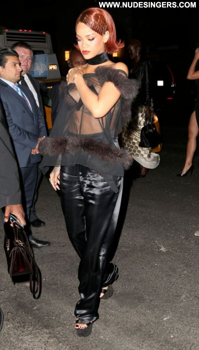 Rihanna No Source Party Posing Hot Beautiful Celebrity See Through