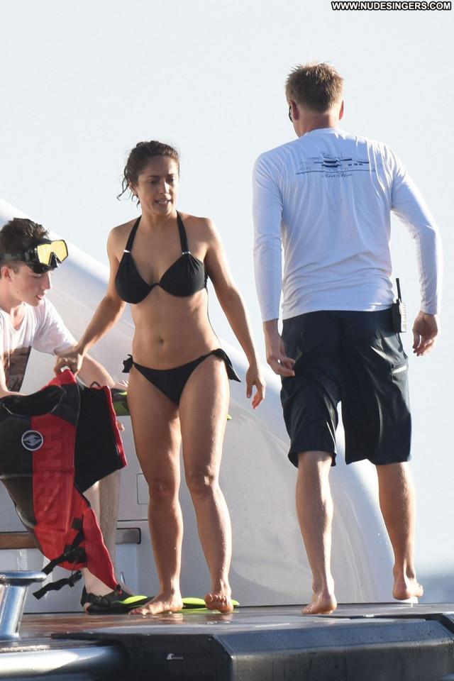 Salma Hayek No Source  Babe Celebrity Yacht Bikini Beautiful Posing