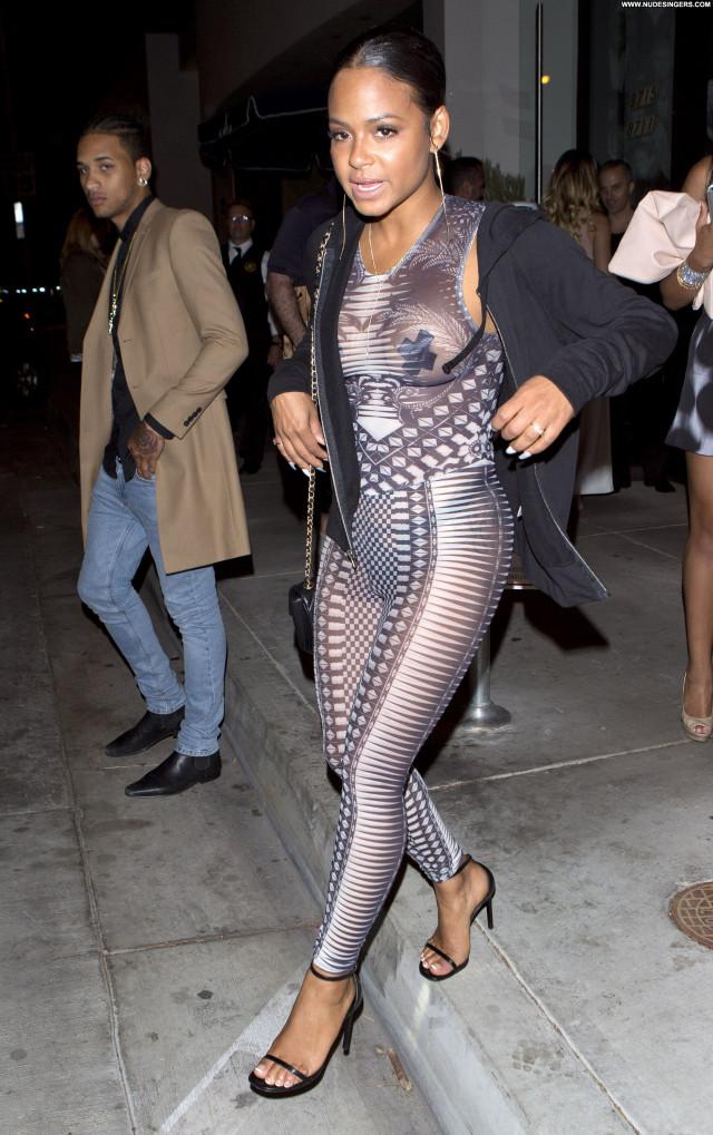 Christina Milian No Source  Beautiful Bodysuit See Through Birthday